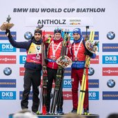 Martin Fourcade FRA Johannes Thingnes Boe NOR Anton Shipulin RUS IBU world cup biathlon Antholz